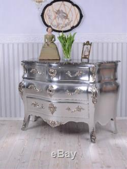 Commode Antique Style Baroque Placard Argent Rococo
